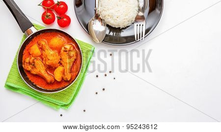 Chicken Cooked With Curry Sauce For Eat On Background.