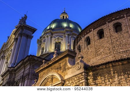 Old And New Cathedrals In Brescia, Italy