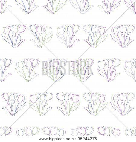 Seamless pattern with colorful tulips on white background