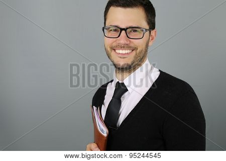young teacher smiling
