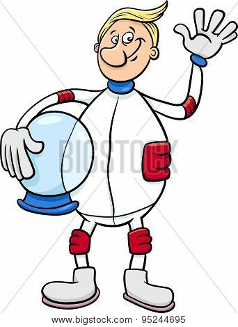 Astronaut Character Cartoon Illustration
