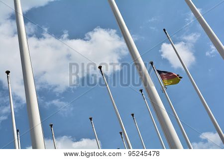 flagpoles with Germany flag