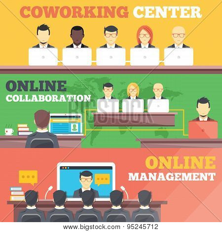 Coworking center, online collaboration, online management flat illustration concepts set