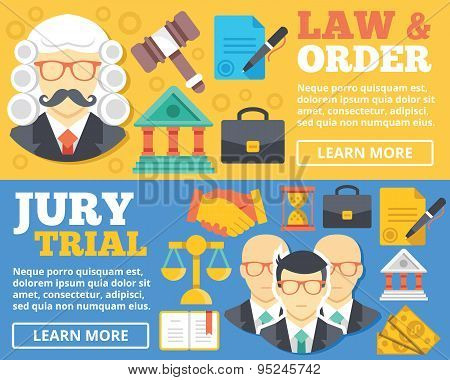 Law & order, trial by jury flat illustration concepts set