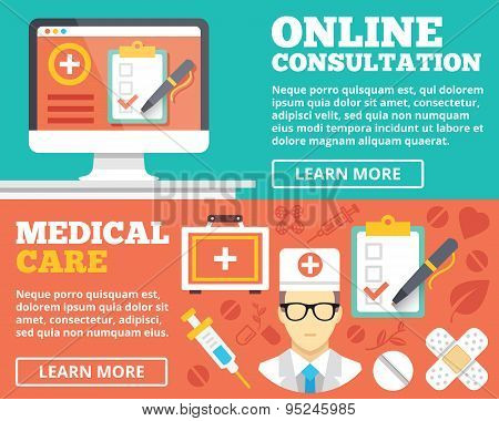 Online consultation and medical care flat illustration concepts set