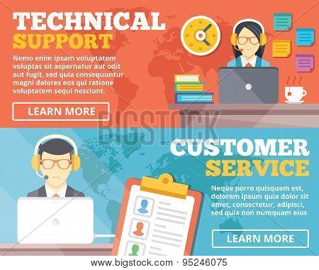 Technical support, customer service flat illustration concepts set