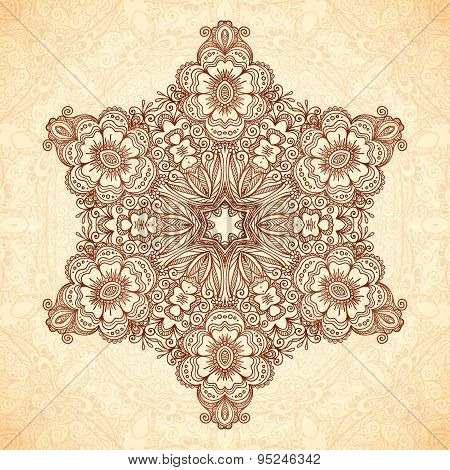 Decorative star mandala in Indian mehndi style, seamless pattern