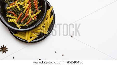 Italian Pasta And Dry Pasta In The Dish.