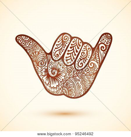 Shaka surfers hand in Indian henna tattoo style
