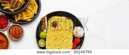 Instant Noodles And Pasta For Cooking In The Dish.
