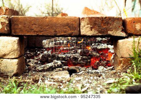 Bricks Brazier  With Glowing Coals