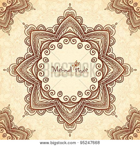 Decorative star frame in Indian mehndi style