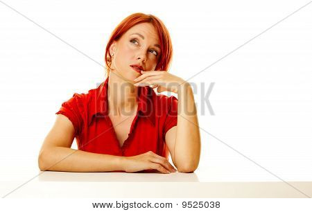Redhead Woman Over White