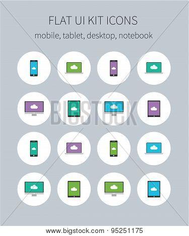 Flat Ui Kit Icons Of Mobile, Tablet, Desktop, Notebook