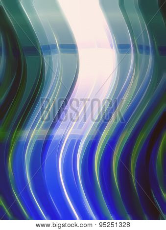 3D illustration of abstract colored with sinuous shapes