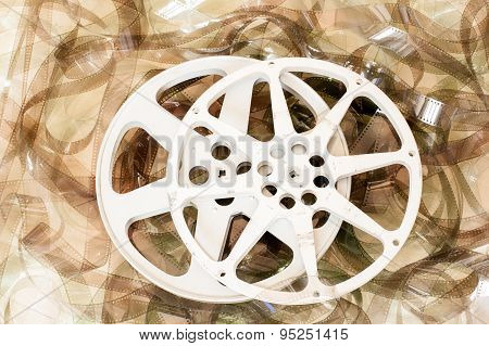 Couple Of Cinema Movie Reels And 35 Mm Film Background