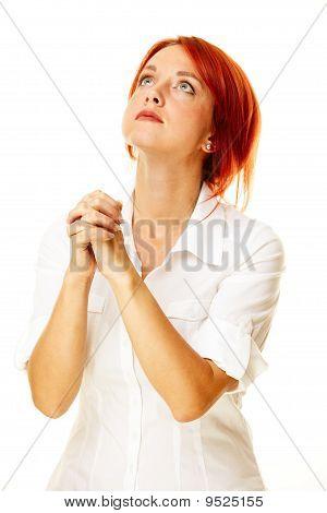 Pensive Caucasian Woman