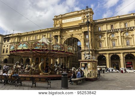People On Piazza Della Repubblica In Florence In Italy