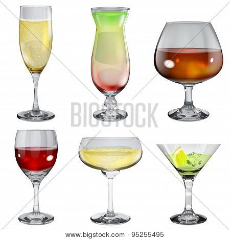 Set Of Opaque Glass Goblets With Different Drinks