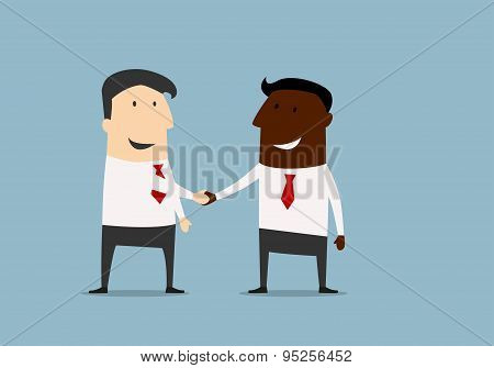 Black and caucasian businessmen handshake