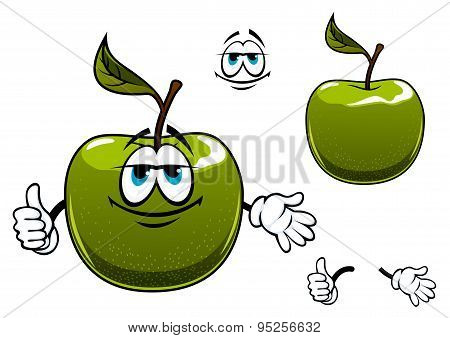 Green apple fruit cartoon character with thumb up