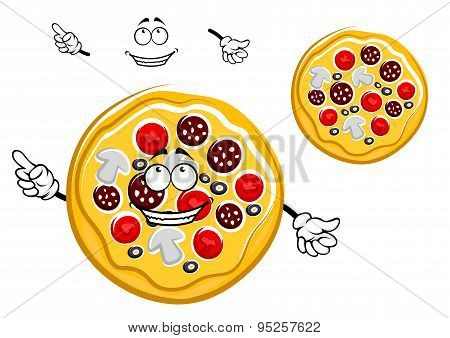 Fast food pepperoni pizza cartoon character