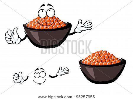Cartoon red caviar in ceramic bowl