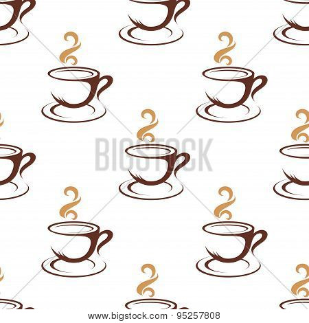Coffee seamless pattern with cappuccino cups