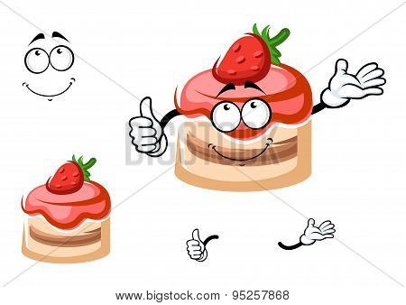 Strawberry dessert cartoon character with thumb up