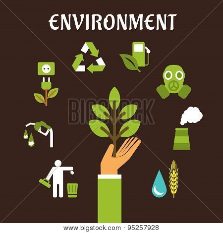 Conservation and environment flat concept