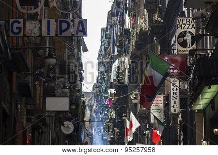 Side Street In Naples In Italy