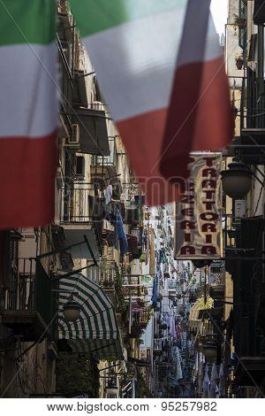 Italian Flags In Naples, Italy