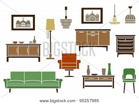 Household furniture and interior flat icons