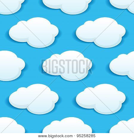 Seamless background pattern of fluffy white clouds