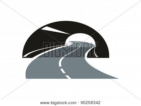 Road icon winding through a tunnel