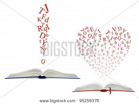 Alphabet letter cloud above an open book