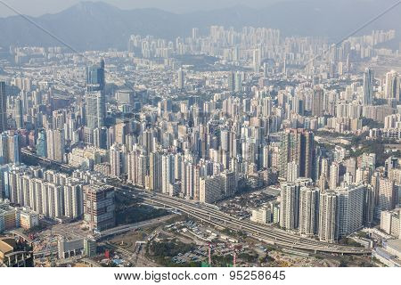 Densely populated area in Hong Kong