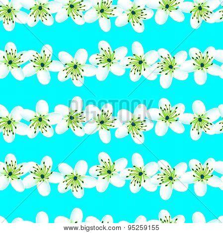 Green And Blue Tropical Frangipani Seamless Pattern