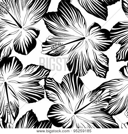 Tropical Flowers Seamless Pattern In Black And White