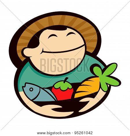 Farmer Holding Vegetables