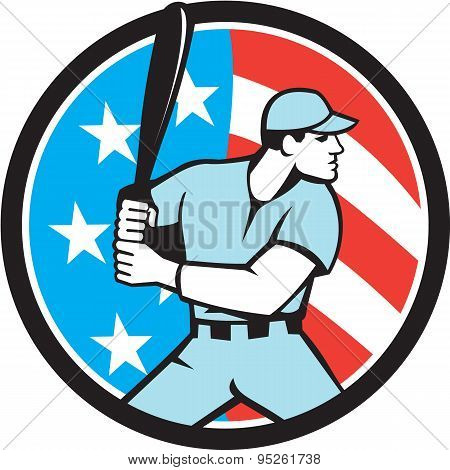 American Baseball Batter Hitter Usa Flag Circle Retro