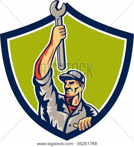 Mechanic Raising Up Spanner Wrench Shield Retro