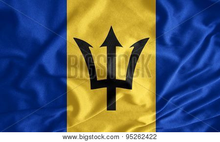 Waving Colorful Barbados Flag