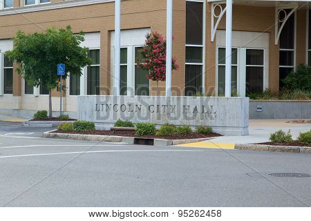 LINCOLN, CA, USA - July 7 2015: The outside sign of the Lincoln City Hall building. Lincoln is a city Northeast of Sacramento.