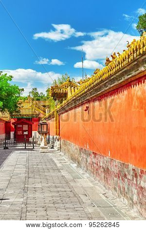 Palaces, Pagodas Inside The Territory Of The Forbidden City Museum In Beijing In The Heart Of City.