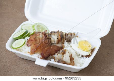 Bbq Pork , Fried Ferment Pork And Crispy Pork With Steam Rice In Foam Box