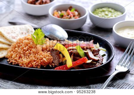 Mexican Beef Fajitas With Flour Tortillas And Rice