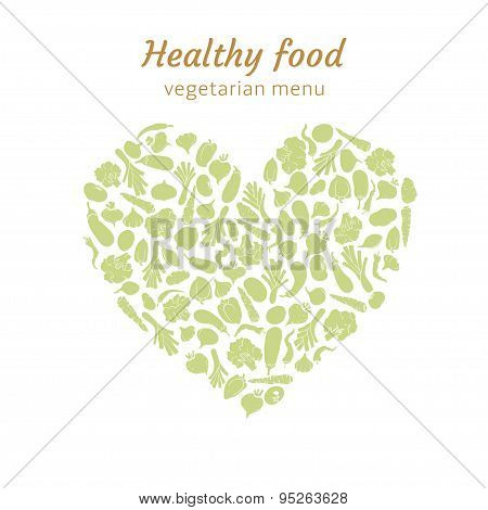 green heart of silhouettes of vegetables
