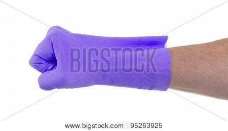Fist Hand In Latex Glove