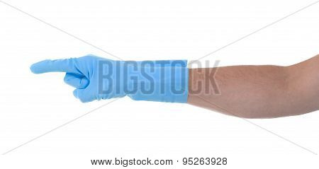 Hand In An Cleaning Glove Making A Directional Sign